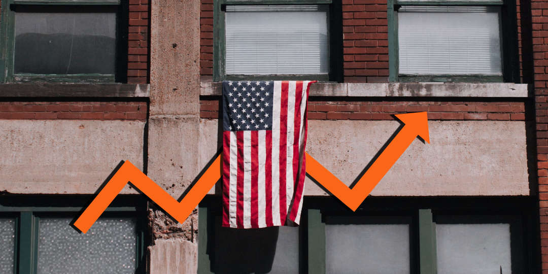 american flag displayed in foreground over an upward arrow illustration